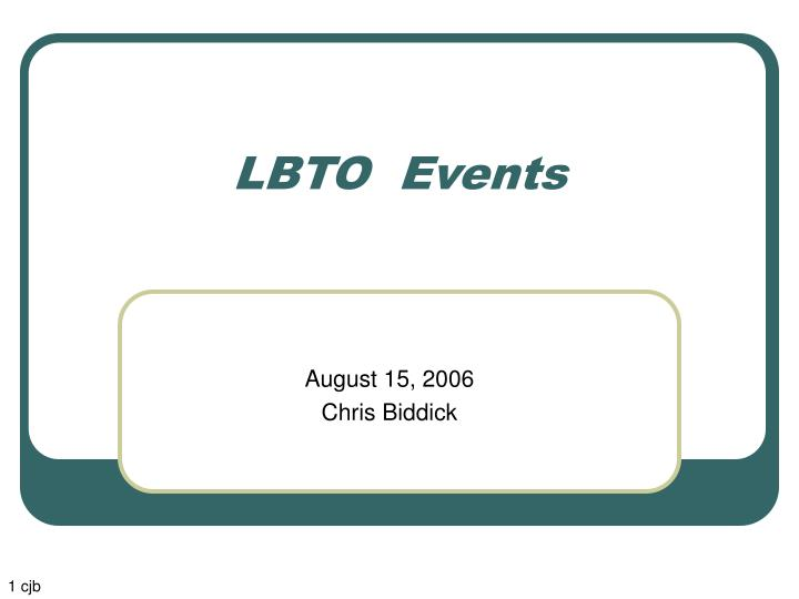 Lbto events
