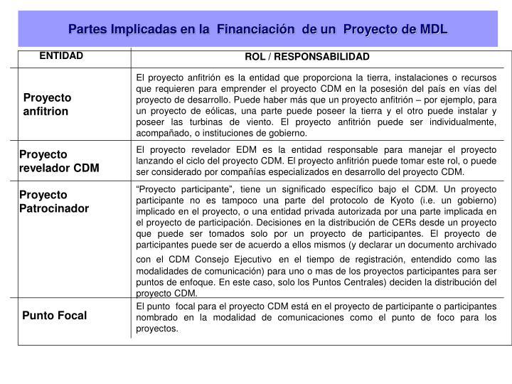 Partes Implicadas en la  Financiación  de un  Proyecto de MDL