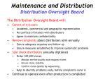 maintenance and distribution distribution oversight board