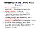 maintenance and distribution overview