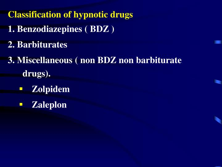 Classification of hypnotic drugs