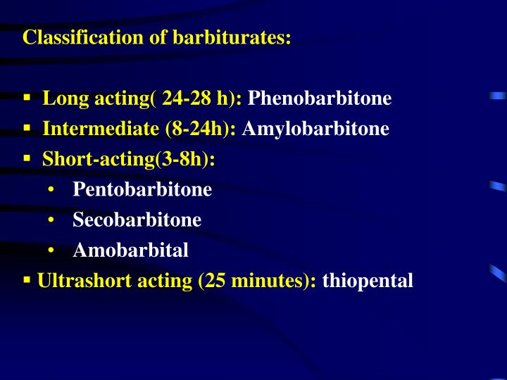 Classification of barbiturates: