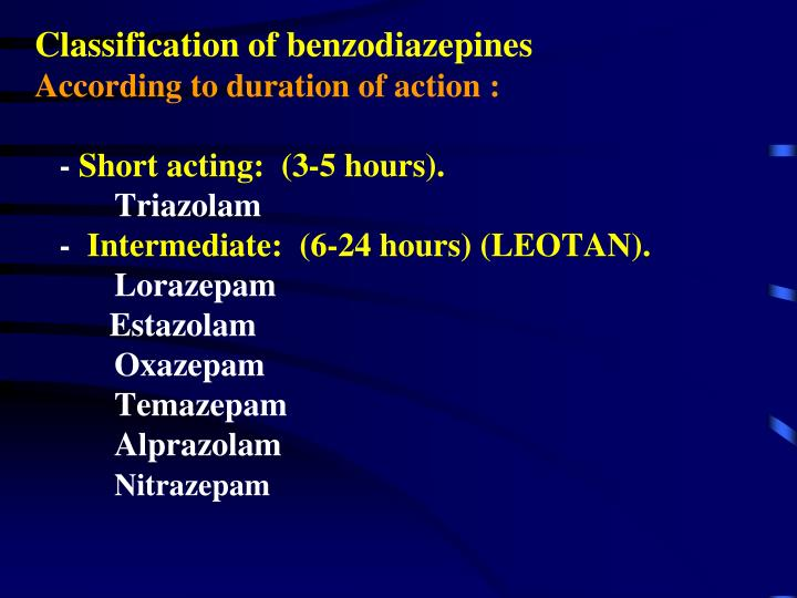 Classification of benzodiazepines