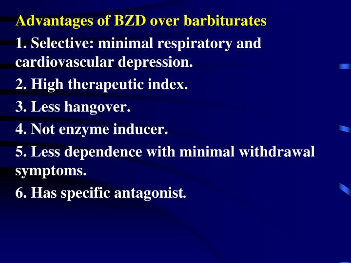 Advantages of BZD over barbiturates