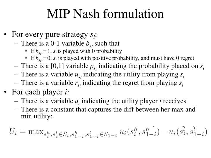MIP Nash formulation