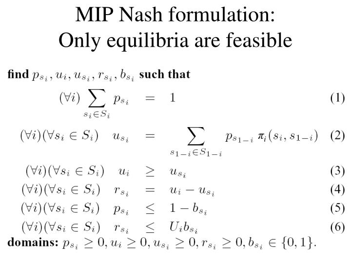 MIP Nash formulation: