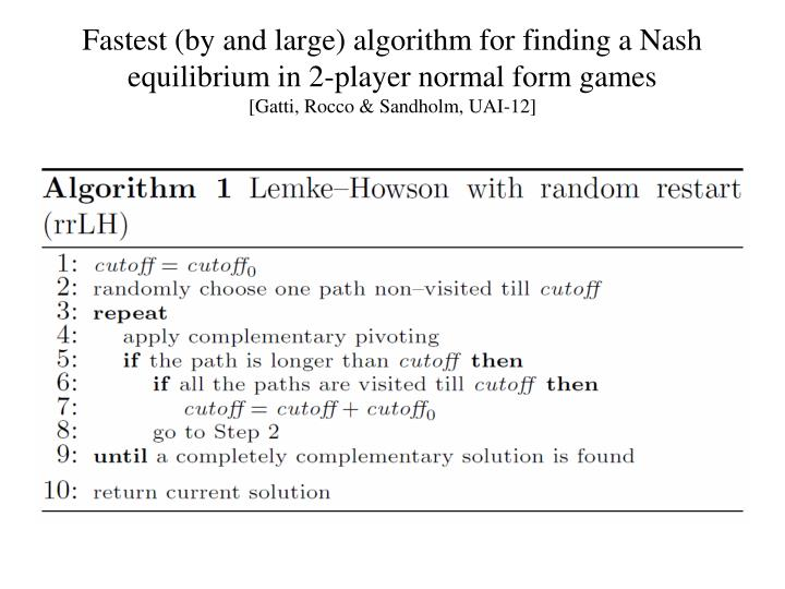 Fastest (by and large) algorithm for finding a Nash equilibrium in 2-player normal form games