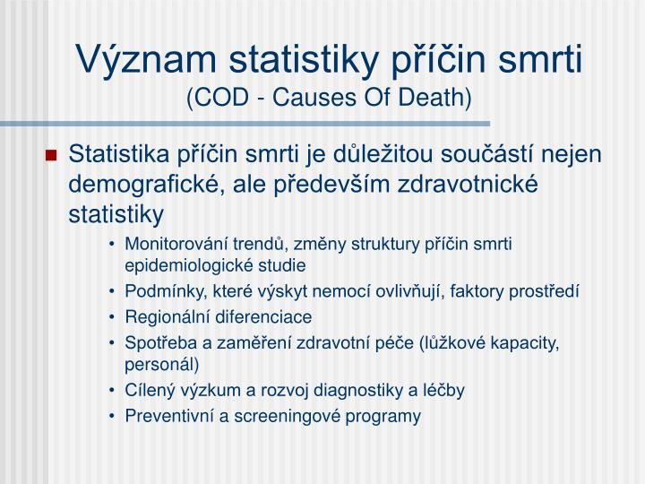 V znam statistiky p in smrti cod causes of death