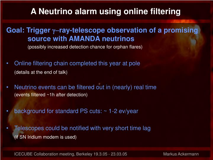 A Neutrino alarm using online filtering