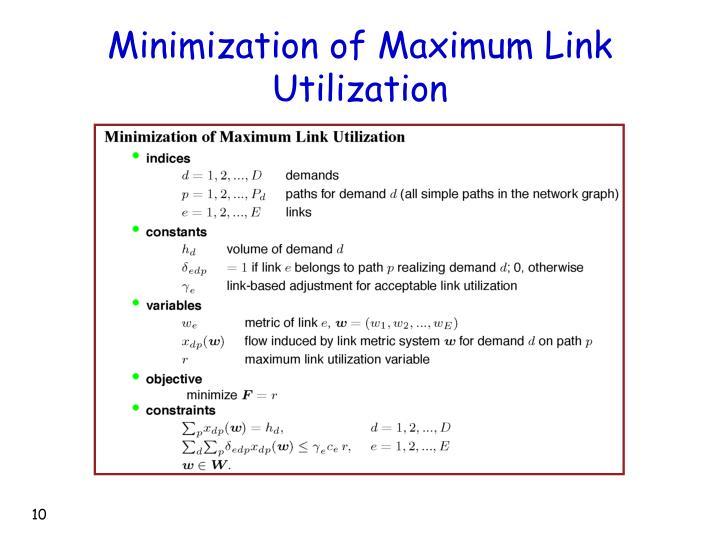 Minimization of Maximum Link Utilization
