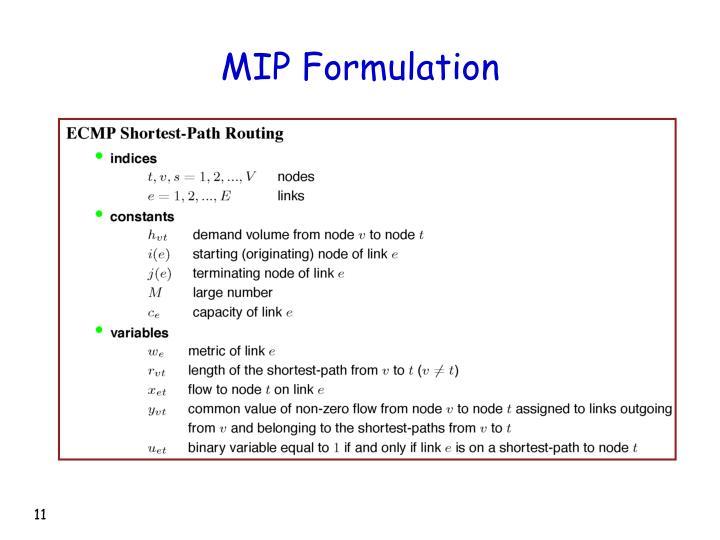 MIP Formulation