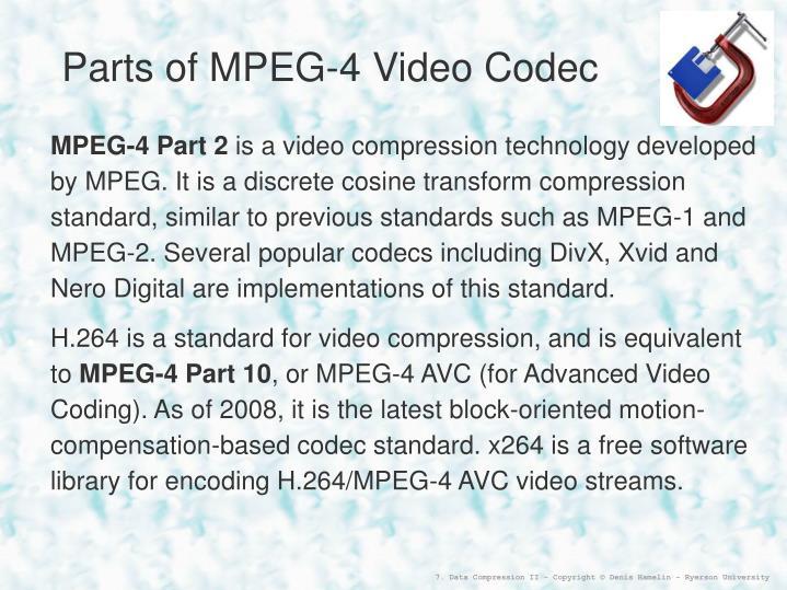 Parts of MPEG-4 Video Codec