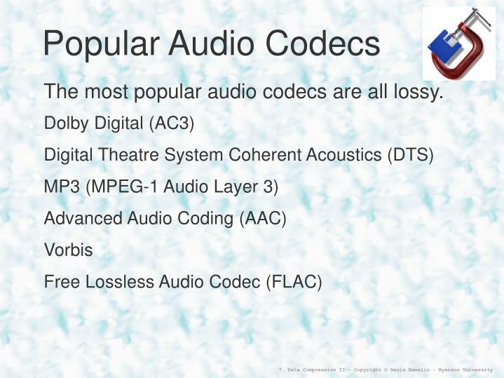 Popular Audio Codecs