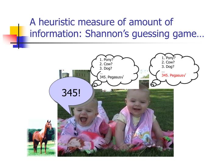 A heuristic measure of amount of information: Shannon's guessing game…