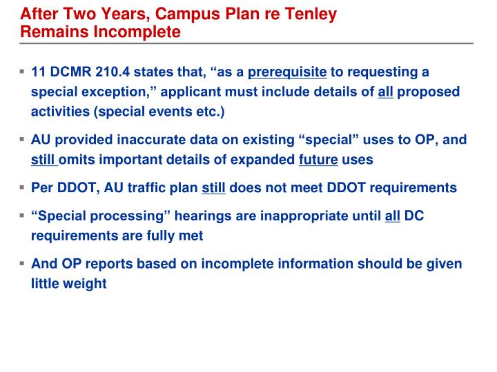 After Two Years, Campus Plan re Tenley