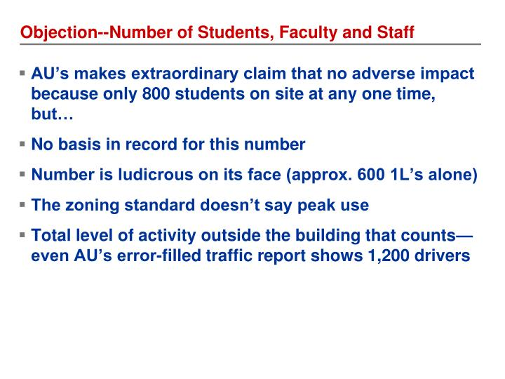 Objection--Number of Students, Faculty and Staff
