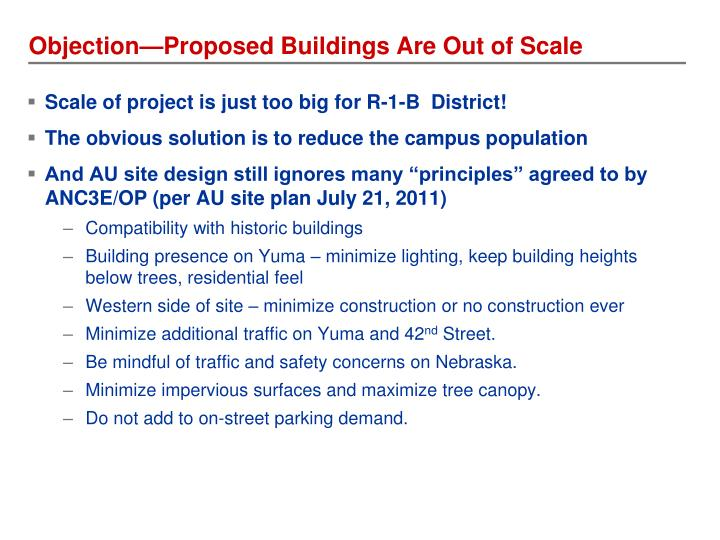 Objection—Proposed Buildings Are Out of Scale