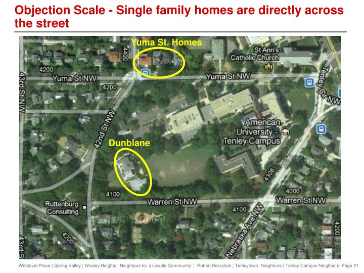Objection Scale - Single family homes are directly across the street