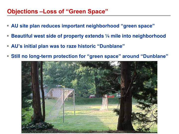 """Objections –Loss of """"Green Space"""""""