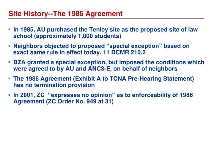 Site History--The 1986 Agreement