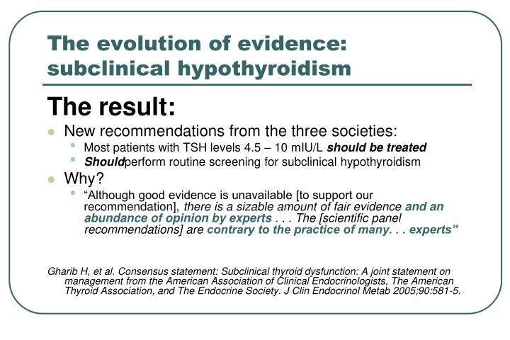 The evolution of evidence: subclinical hypothyroidism