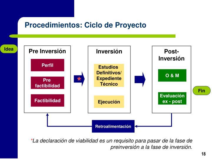 Procedimientos: Ciclo de Proyecto