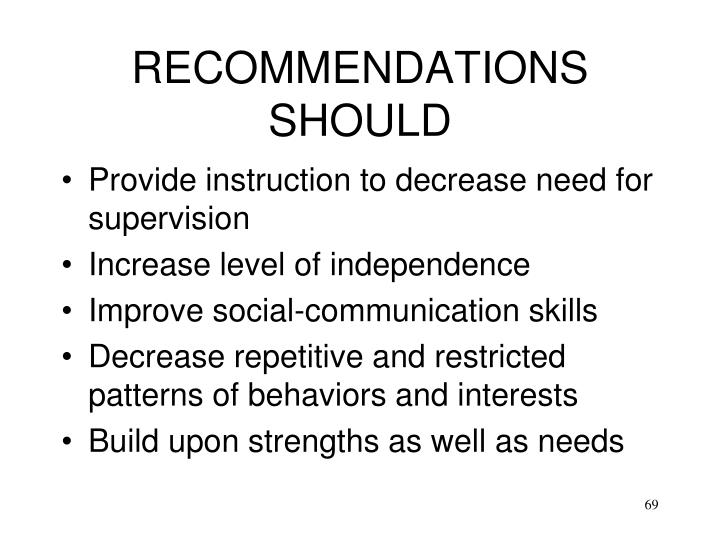 RECOMMENDATIONS SHOULD
