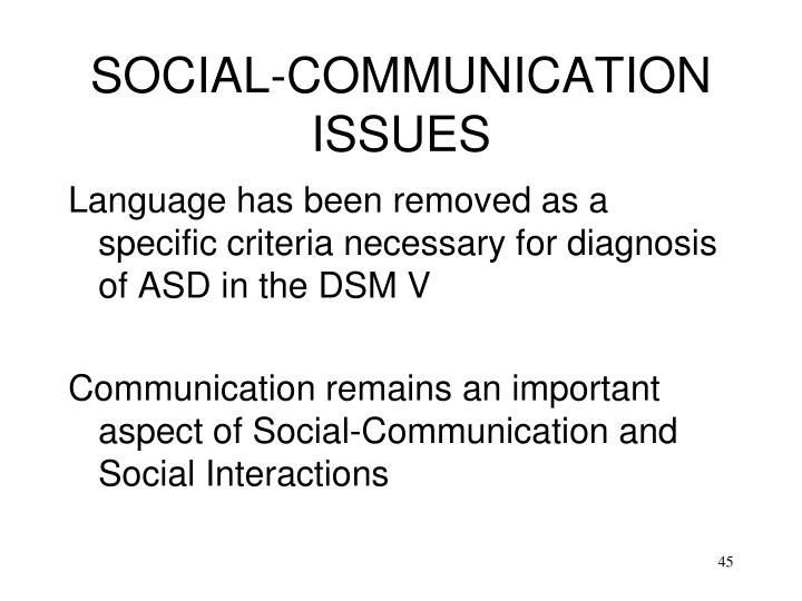 SOCIAL-COMMUNICATION ISSUES