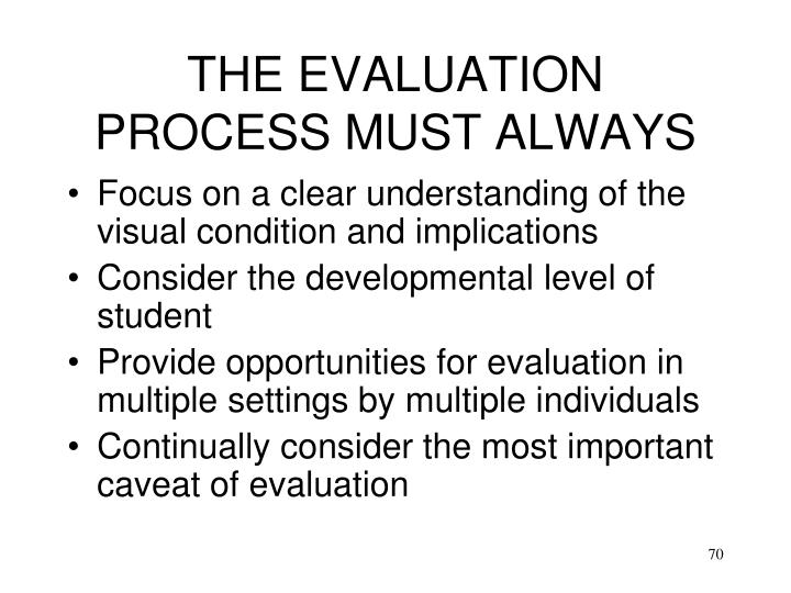 THE EVALUATION PROCESS MUST ALWAYS