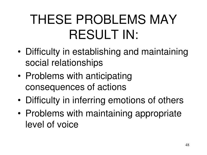 THESE PROBLEMS MAY RESULT IN: