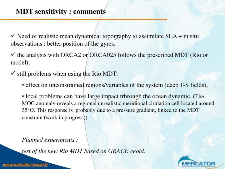 MDT sensitivity : comments