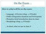 on the exam