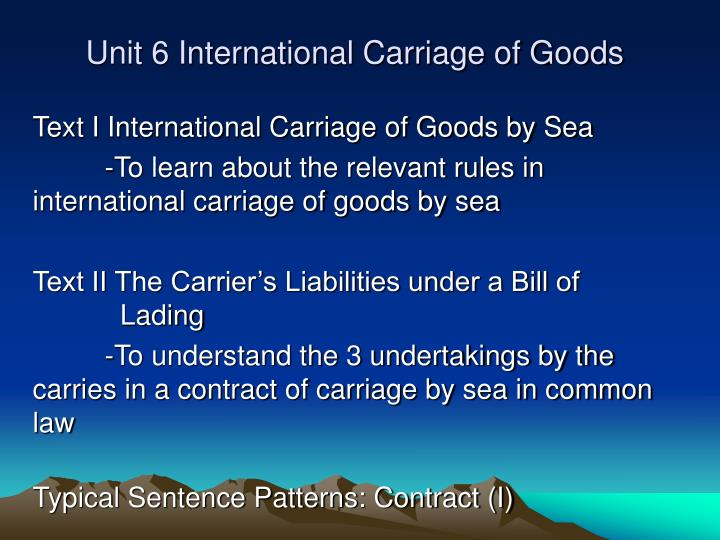 a report on the common carriage of goods