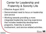 center for leadership and fraternity sorority life
