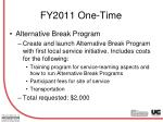 fy2011 one time