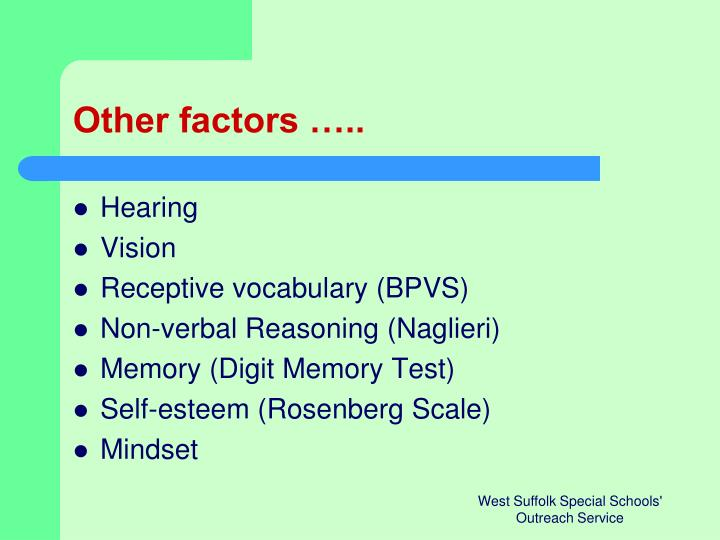 Other factors …..