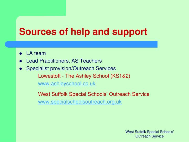 Sources of help and support