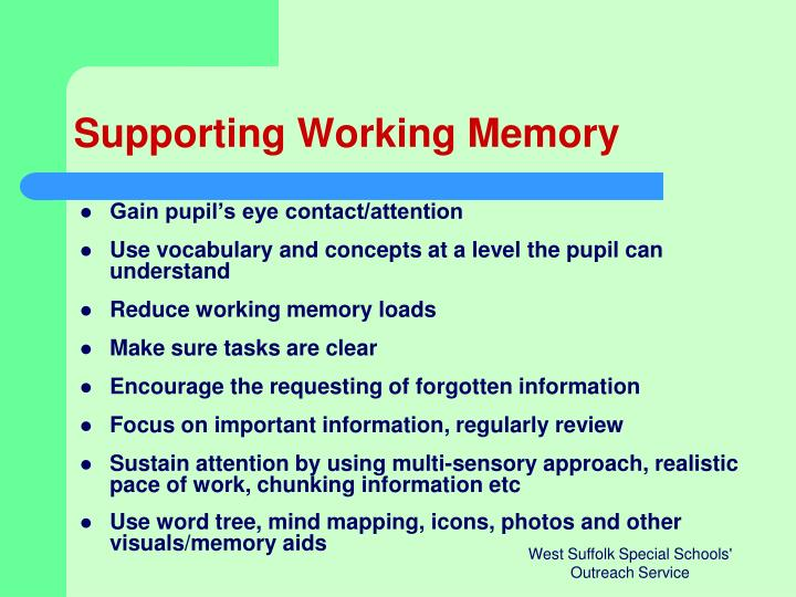 Supporting Working Memory