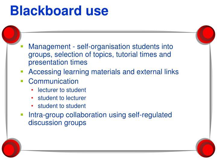 Blackboard use
