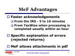 mef advantages