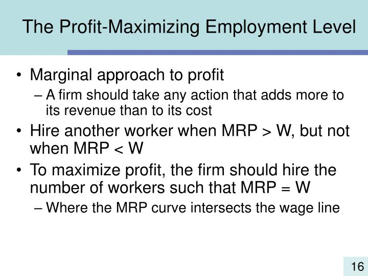 The Profit-Maximizing Employment Level