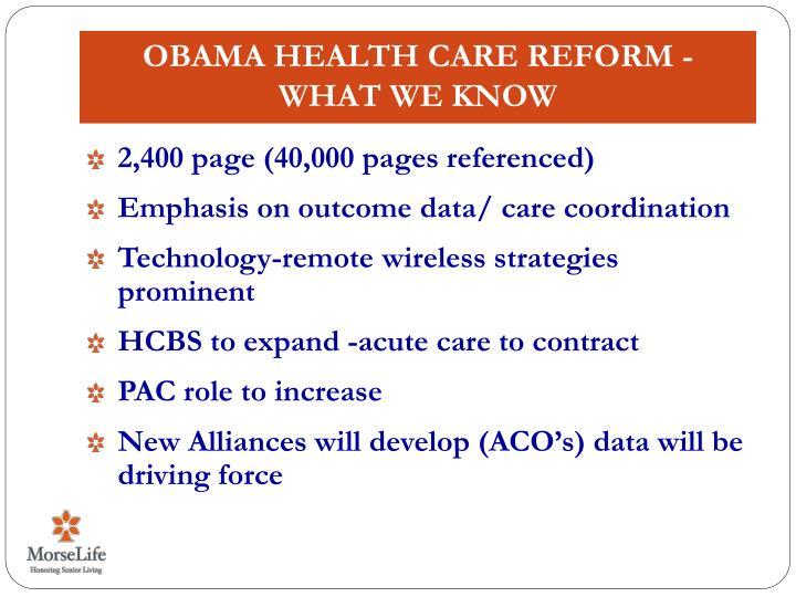 Obama Health Care Reform -