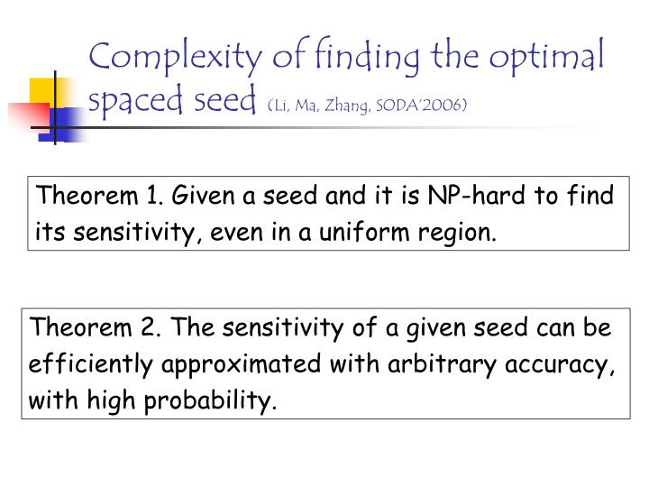 Complexity of finding the optimal spaced seed