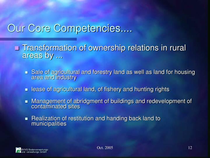 Our Core Competencies....