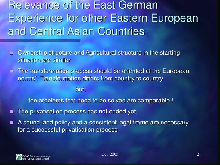 Relevance of the East German Experience for other Eastern European and Central Asian Countries