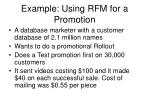 example using rfm for a promotion