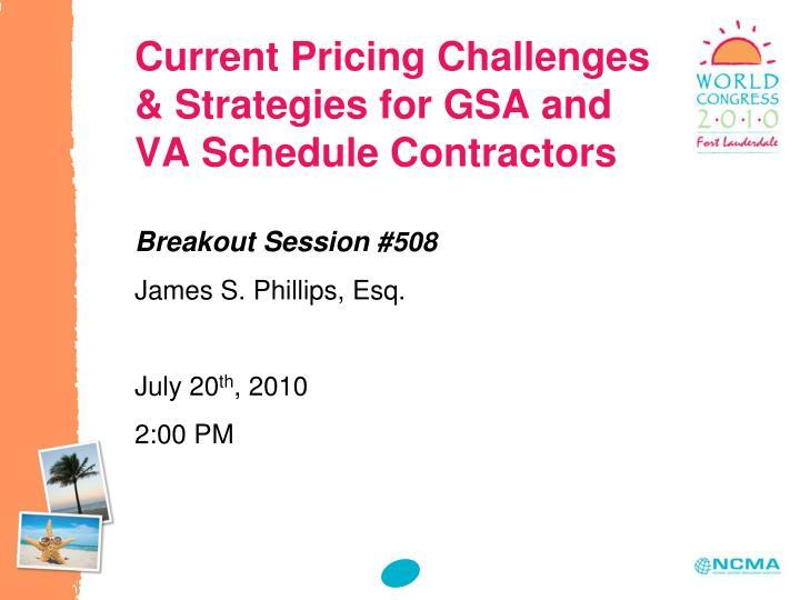 Current pricing challenges strategies for gsa and va schedule contractors