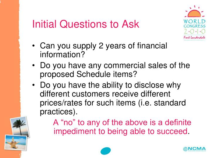 Initial Questions to Ask
