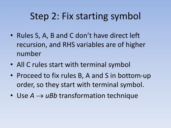 Step 2: Fix starting symbol