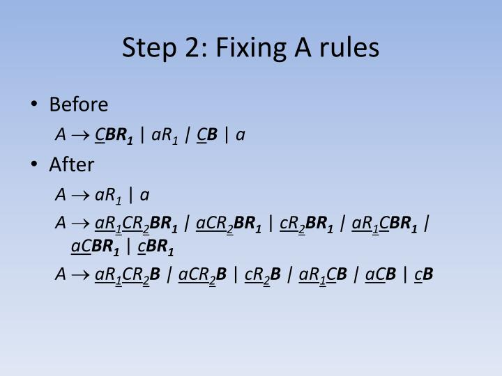 Step 2: Fixing A rules